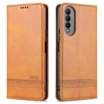 For Honor X20 SE AZNS Magnetic Calf Texture Horizontal Flip Leather Case with Card Slots & Holder & Wallet(Light Brown)