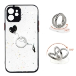 Colored Drawing Starry Sky Epoxy TPU Shockproof Case with Ring Holder For iPhone 12(Heart)