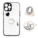 Colored Drawing Starry Sky Epoxy TPU Shockproof Case with Ring Holder For iPhone 12 Pro Max(Heart)