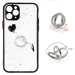 Colored Drawing Starry Sky Epoxy TPU Shockproof Case with Ring Holder For iPhone 11 Pro(Heart)