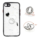 Colored Drawing Starry Sky Epoxy TPU Shockproof Case with Ring Holder For iPhone SE 2020 / 7 / 8(Heart)