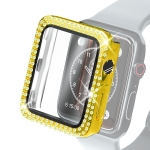 Electroplating PC Double Rows Diamond Protective Case with Tempered Glass Film For Apple Watch Series 3 & 2 & 1 38mm(Gold)
