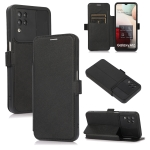 Push Window Double Buckle PU + Silicone Horizontal Flip Leather Case with Holder & Card Slot For Samsung Galaxy A12(Black)