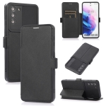 Push Window Double Buckle PU + Silicone Horizontal Flip Leather Case with Holder & Card Slot For Samsung Galaxy S21 5G(Black)