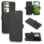 Push Window Double Buckle PU + Silicone Horizontal Flip Leather Case with Holder & Card Slot For Samsung Galaxy S21 Ultra 5G(Black)