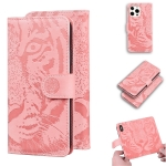 Tiger Embossing Pattern Horizontal Flip Leather Case with Holder & Card Slots & Wallet For iPhone 13 Pro Max(Pink)