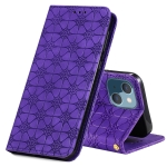 Lucky Flowers Embossing Pattern Magnetic Horizontal Flip Leather Case with Holder & Card Slots For iPhone 13 mini(Purple)