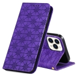 Lucky Flowers Embossing Pattern Magnetic Horizontal Flip Leather Case with Holder & Card Slots For iPhone 13 Pro Max(Purple)