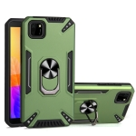 For Huawei Y5p PC + TPU Protective Case with 360 Degrees Rotatable Ring Holder(Dark Green)