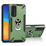 For Huawei Y7a PC + TPU Protective Case with 360 Degrees Rotatable Ring Holder(Dark Green)