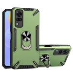 For vivo Y51 2020 December PC + TPU Protective Case with 360 Degrees Rotatable Ring Holder(Dark Green)