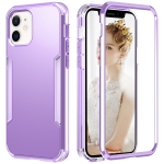 3 in 1 Solid Color Shockproof PC + TPU Protective Case For iPhone 13 mini(Purple)