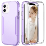 3 in 1 Translucent Color Shockproof PC + TPU Protective Case For iPhone 13(Purple)