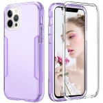 3 in 1 Translucent Color Shockproof PC + TPU Protective Case For iPhone 13 Pro Max(Purple)