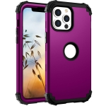 3 in 1 Shockproof PC + Silicone Protective Case For iPhone 13(Dark Purple + Black)