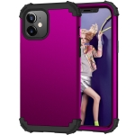 3 in 1 Shockproof PC + Silicone Protective Case For iPhone 12 mini(Dark Purple + Black)