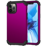 3 in 1 Shockproof PC + Silicone Protective Case For iPhone 12 Pro Max(Dark Purple + Black)