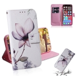 Coloured Drawing Horizontal Flip Leather Case, with Holder & Card Slots & Wallet For iPhone 13 Pro(Magnolia Flower)
