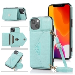 Multi-functional Cross-body Card Bag TPU+PU Back Cover Case with Holder & Card Slot & Wallet For iPhone 13(Green)