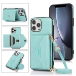 Multi-functional Cross-body Card Bag TPU+PU Back Cover Case with Holder & Card Slot & Wallet For iPhone 13 Pro Max(Green)