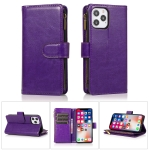 Multifunctional Crazy Horse Texture Horizontal Flip Leather Case with 9 Card Slot & Holder & Zipper Wallet & Lanyard For iPhone 13 Pro(Purple)