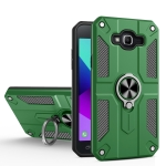 For Samsung Galaxy J7 Carbon Fiber Pattern PC + TPU Protective Case with Ring Holder(Green)