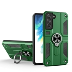 For Samsung Galaxy S21 FE Carbon Fiber Pattern PC + TPU Protective Case with Ring Holder(Green)