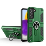 For Samsung Galaxy S21+ 5G Carbon Fiber Pattern PC + TPU Protective Case with Ring Holder(Green)