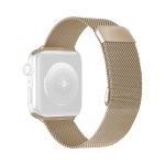 Double Section Milanese Magnetic Elasticity Replacement Strap Watchband For Apple Watch Series 6 & SE & 5 & 4 44mm / 3 & 2 & 1 42mm(Vintage Gold)