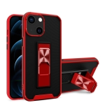 Dual-color Skin Feel TPU + PC Magnetic Shockproof Case with Invisible Holder For iPhone 13 mini(Red)