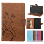 For Samsung Galaxy Tab A7 Lite / T220 Butterfly Flower Embossing Pattern Horizontal Flip Leather Case with Holder & Card Slots & Wallet(Brown)
