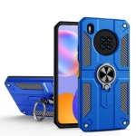 For Huawei Y9a Carbon Fiber Pattern PC + TPU Protective Case with Ring Holder(Dark Blue)