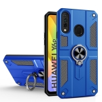 For Huawei Y6p Carbon Fiber Pattern PC + TPU Protective Case with Ring Holder(Dark Blue)