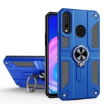 For Huawei Y7p / P40 lite E Carbon Fiber Pattern PC + TPU Protective Case with Ring Holder(Dark Blue)