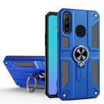 For Huawei Y9 Prime (2019) Carbon Fiber Pattern PC + TPU Protective Case with Ring Holder(Dark Blue)