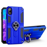 For Huawei Y5 (2019) Carbon Fiber Pattern PC + TPU Protective Case with Ring Holder(Dark Blue)