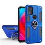For Motorola Moto G Stylus 5G Carbon Fiber Pattern PC + TPU Protective Case with Ring Holder(Dark Blue)