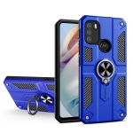 For Motorola Moto G60 Carbon Fiber Pattern PC + TPU Protective Case with Ring Holder(Dark Blue)