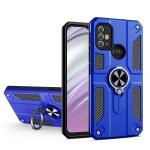 For Motorola Moto G10 / G20 / G30 Carbon Fiber Pattern PC + TPU Protective Case with Ring Holder(Dark Blue)