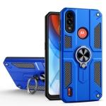 For Motorola Moto E7 Power Carbon Fiber Pattern PC + TPU Protective Case with Ring Holder(Dark Blue)