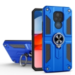 For Motorola Moto G Play (2021) Carbon Fiber Pattern PC + TPU Protective Case with Ring Holder(Dark Blue)