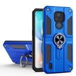 For Motorola Moto E7 Carbon Fiber Pattern PC + TPU Protective Case with Ring Holder(Dark Blue)