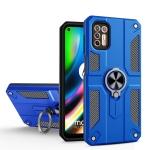 For Motorola Moto G9 Plus Carbon Fiber Pattern PC + TPU Protective Case with Ring Holder(Dark Blue)