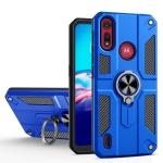 For Motorola Moto E6s (2020) Carbon Fiber Pattern PC + TPU Protective Case with Ring Holder(Dark Blue)