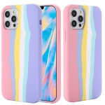 Rainbow Liquid Silicone Shockproof Full Coverage Protective Case For iPhone 13 mini(Pink)