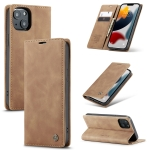 CaseMe-013 Multifunctional Retro Frosted Horizontal Flip Leather Case with Card Slot & Holder & Wallet For iPhone 13(Brown)