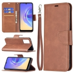 For vivo V21e 4G Retro Lambskin Texture Pure Color Horizontal Flip PU Leather Case with Holder & Card Slots & Wallet & Lanyard(Brown)