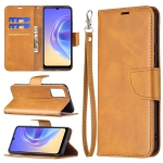 For vivo V21e 4G Retro Lambskin Texture Pure Color Horizontal Flip PU Leather Case with Holder & Card Slots & Wallet & Lanyard(Yellow)