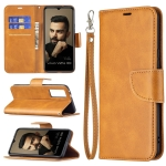 For vivo V21e 5G Retro Lambskin Texture Pure Color Horizontal Flip PU Leather Case with Holder & Card Slots & Wallet & Lanyard(Yellow)