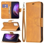 For vivo V21 Retro Lambskin Texture Pure Color Horizontal Flip PU Leather Case with Holder & Card Slots & Wallet & Lanyard(Yellow)